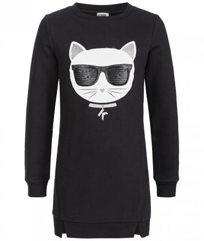 Karl Lagerfeld Choupette Kleid mit Glitzer in schwarz