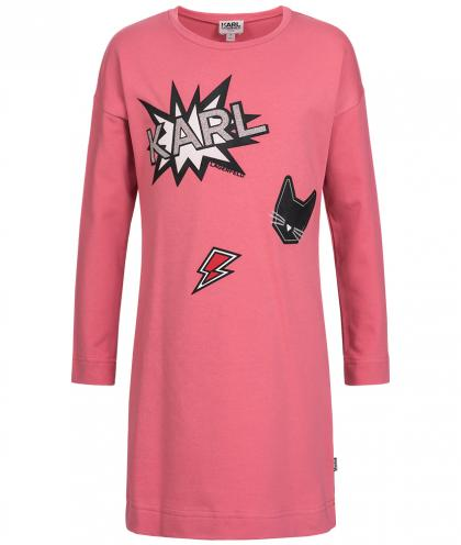 Karl Lagerfeld Kleid mit Glanz-Print in sorbet rosa