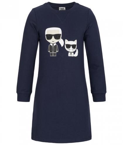 Karl Lagerfeld Sweatkleid mit Glitzer in marine