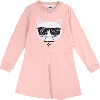 Kalr Lagerfeld sweat dress with reversible sequins - pink