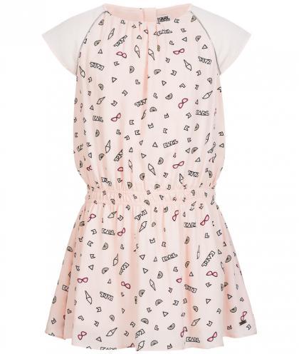 Allover Print Kleid in rosa