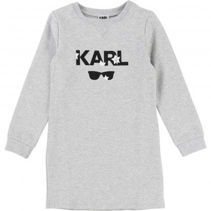 Karl Lagerfeld Sweatkleid mit Glitzer in grau-meliert