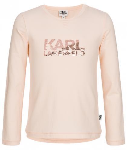 Karl Lagerfeld Shirt mit Glitzer und Pailletten in rosa