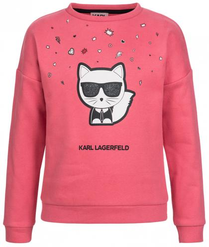 Karl Lagerfeld Sweatshirt mit Glanz-Print in sorbet rosa