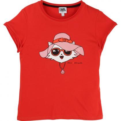Karl Lagerfeld Mädchenshirt mit Choupette Aufdruck in rot
