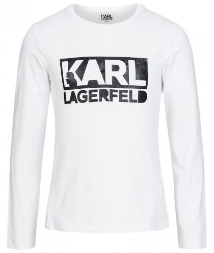 Karl Lagerfeld Langarmshirt mit Glanz-Print in weiss
