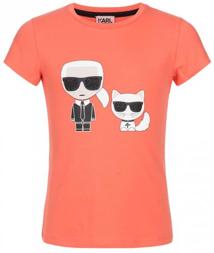 Karl Lagerfeld shirt with glittering-print in coral
