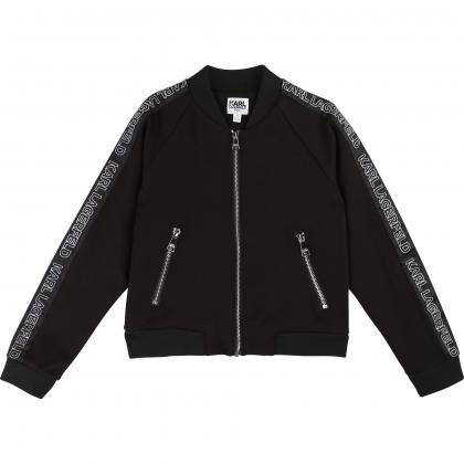 Karl Lagerfeld jogging jacket with track stripes - black