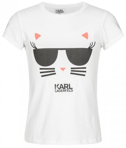 Karl Lagerfeld Shirt mit Choupette-Print in weiss