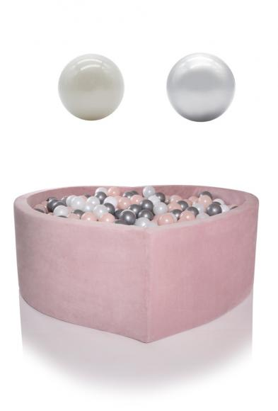 KIDKII ball pit velvet heart 115x40cm - baby pink incl. 200 balls pearl & silver