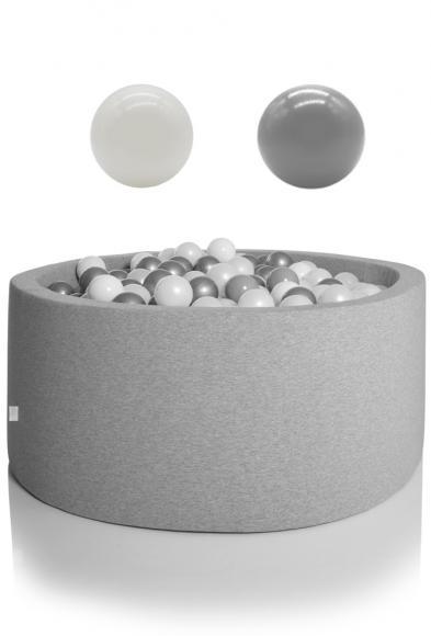 KIDKII Bällebad rund 125x50cm - grau inkl. 600 Bälle weiß & grau