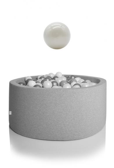 KIDKII ball pit round 90x40cm - grey incl. 200 balls pearl