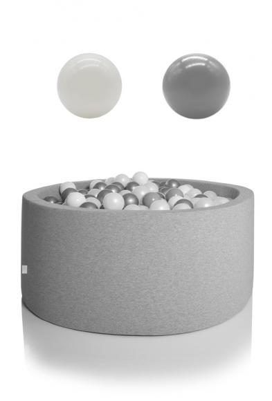 KIDKII Bällebad rund 90x40cm - grau inkl. 200 Bälle weiß & grau