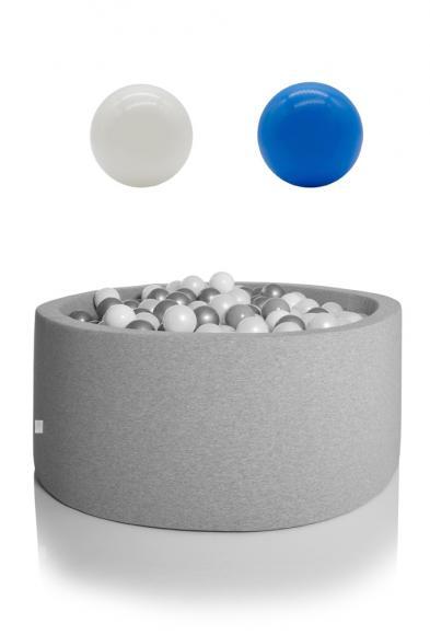 KIDKII Bällebad rund 90x40cm - grau inkl. 200 Bälle weiß & blau