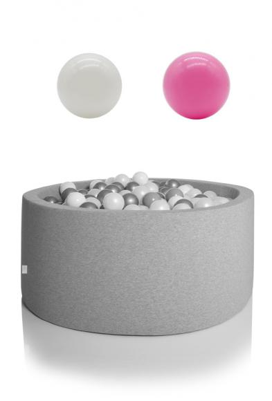 KIDKII ball pit round 90x40cm - grey incl. 200 balls white & light pink