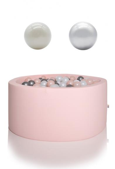 KIDKII ball pit round 90x40cm - light pink incl. 200 balls pearl & silver