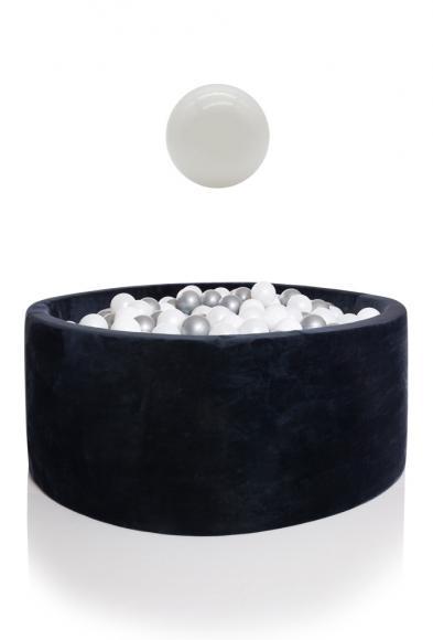 KIDKII Bällebad Samt rund 100x40cm - blau inkl. 400 Bälle weiß