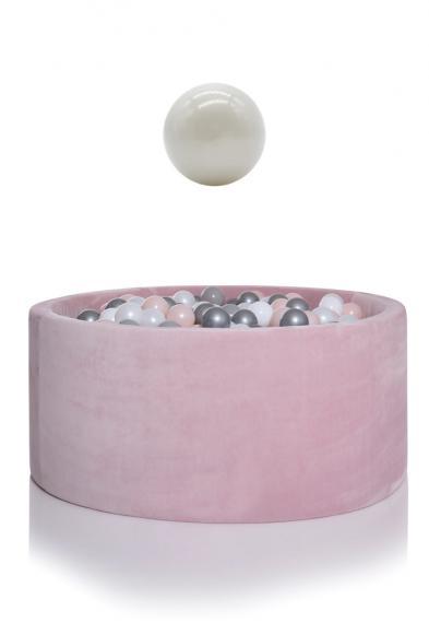 KIDKII Bällebad Samt rund 100x40cm - rosa inkl. 400 Bälle pearl