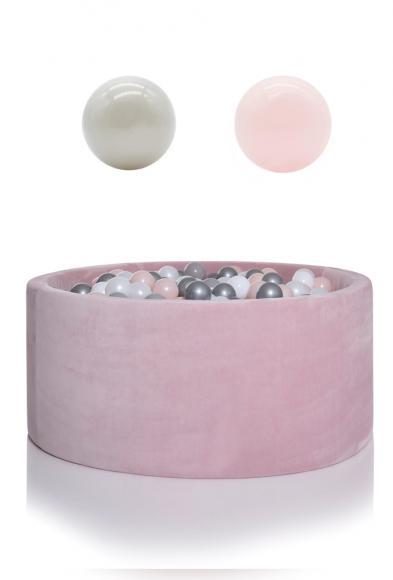 KIDKII Bällebad Samt rund 90x40cm - rosa inkl. 200 Bälle pearl & pearl blush