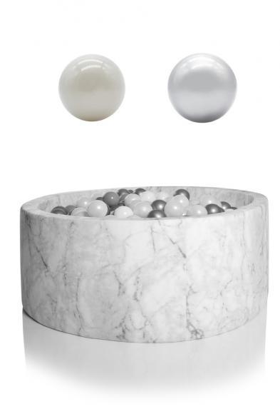 KIDKII Bällebad Samt rund 100x40cm - weiß Marmor inkl. 400 Bälle pearl & silber