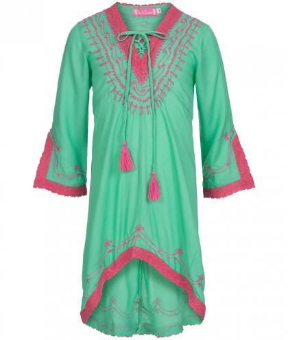 Kinder Tunika-Kleid in Emeral-Fuchsia