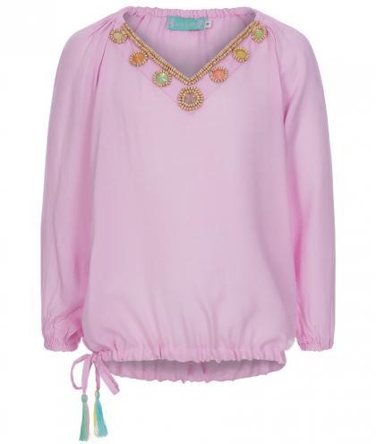 Kids Bluse Handmade mit Perlen in pink