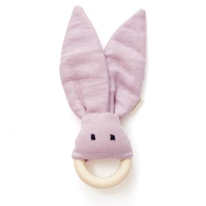 Kids Concept teether rabbit NEO made of wood and linen - pink