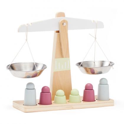 Kids Concept Holz Waage mit 6 Gewichten - weiß