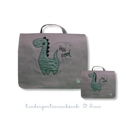 Kleine Freunde Rucksack/Tasche Dino, personalisierbar - grau