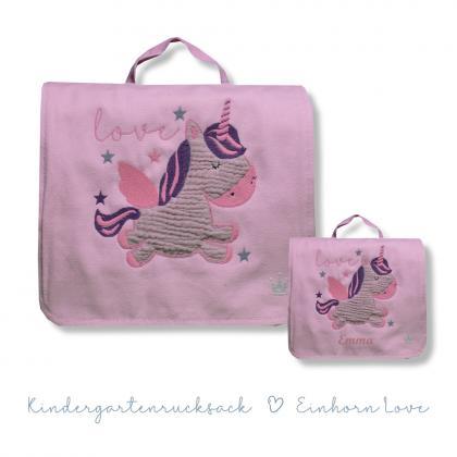 Kleine Freunde backpack/bag unicorn, personalized - pink