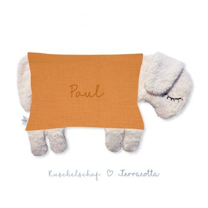 Kleine Freunde Kuschelkissen Schaf, personalisierbar - terracotta