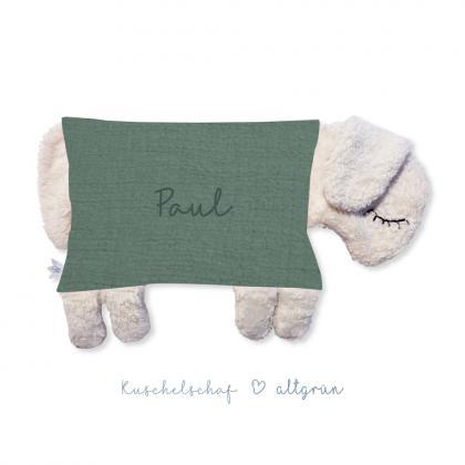 Kleine Freunde Kuschelkissen Schaf, personalisierbar - altgrün