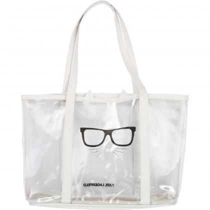 Karl Lagerfeld Strandtasche - durchsichtig/weiß