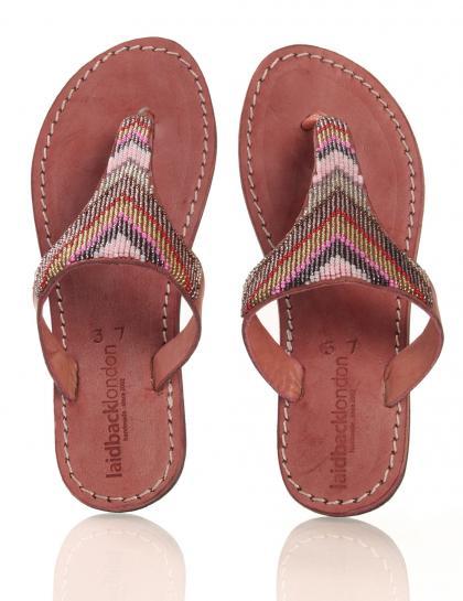 Leder-Sandale in coral