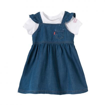 Levis Baby Set weiches Jeanskleid + Shirt in Geschenkebox