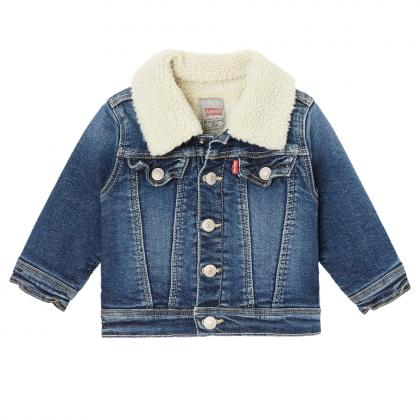 Levi's Baby denim jacket Clif with teddy fur in blue