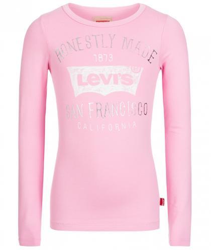 Levis Logo Langarmshirt mit Glanz-Print in rosa