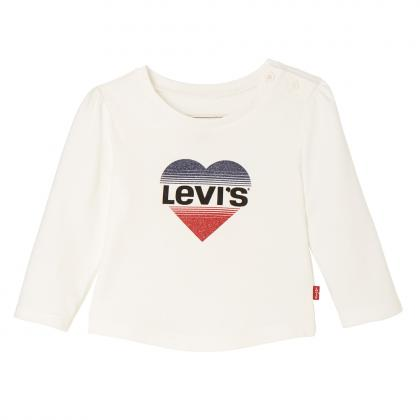 Levi's Baby longsleeve Hearty with glitter heart in off-white