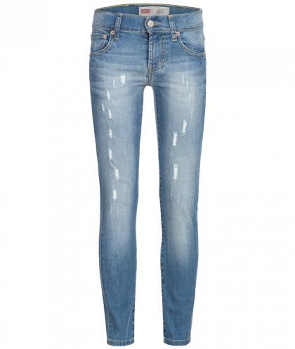 Skinny Jeans im Used look 510 in hellblau