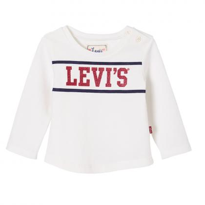 Levi's Baby longsleeve Pom with glitter logo in off-white