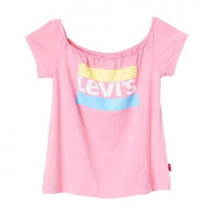 Levi's cropped t-shirt Makeba with carmen neckline - pink