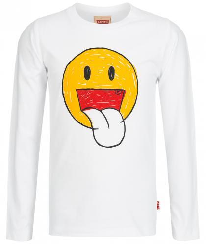 Levis Langarmshirt mit Smiley Aufdruck in weiss
