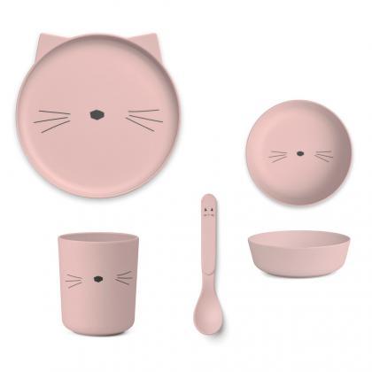 Liewood Bambus Geschirr Set Katze - rosa