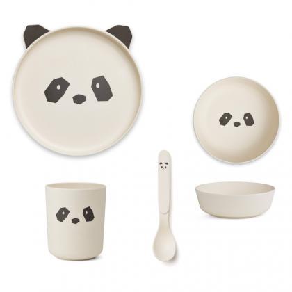 Liewood bamboo box set Panda - cream