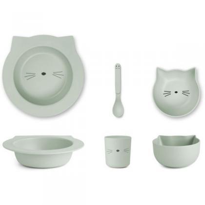 Liewood Barbara Bambus Geschirr Set Cat - dusty mint