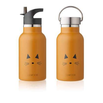 Liewood Anker steel water bottle cat - Mustard