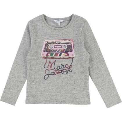 Little Marc Jacobs Shirt mit Pailletten in grau-meliert
