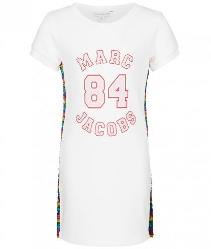 Little Marc Jacobs Kleid mit Pailletten in weiss