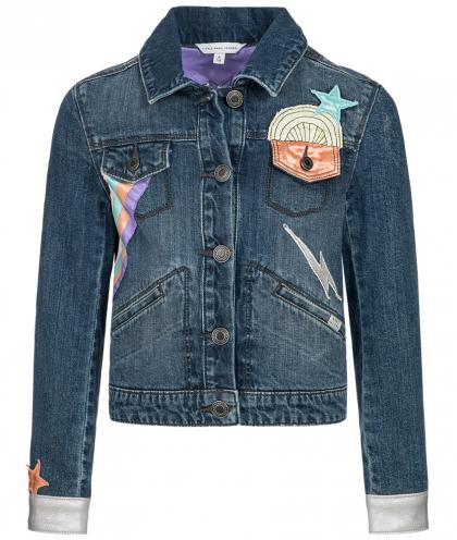 Little Marc Jacobs Jeansjacke mit Patches in blau