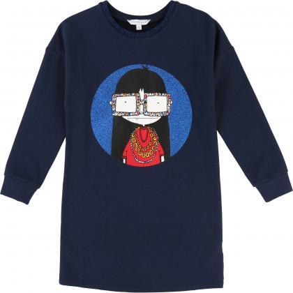 Little Marc Jacobs Kleid mit Schmucksteinen in dunkelblau